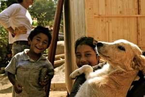 kids with dog, mexico