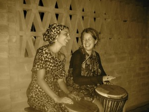 Playing drums in Togo