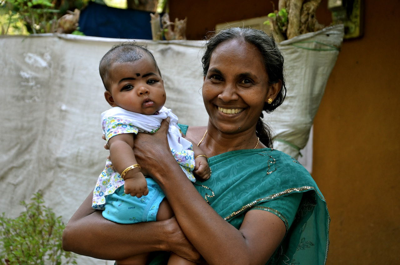 woman with baby, india