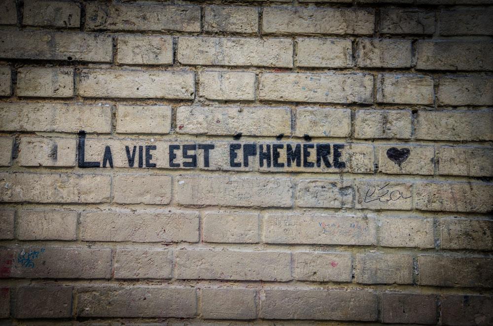 Das Leben ist vergänglich, Graffiti, Paris